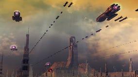 SCIFI city. SCIFI futuristic city and ships Stock Image