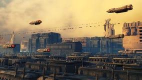 SCIFI city. SCIFI futuristic city and ships Stock Photography