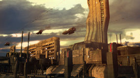 SCIFI city. SCIFI futuristic city and ships Royalty Free Stock Image