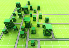 Green ortogonal city urban structure Royalty Free Stock Photos