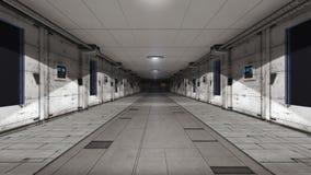 Scifi corridor. 3d scifi corridor and futuristic concept Stock Photos