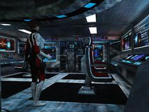 Scifi female trooper in command and control centre. Woman in futuristic body armour with holstered sidearm in dimly lit room with various displays as in a Royalty Free Stock Images