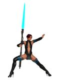 Scifi female warrior with plasma lance. Fantasy science fiction woman wearing skimpy latex outfit in action pose holding plasma lance Stock Photos