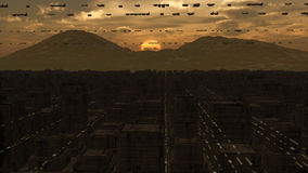 SCIFI futurista de la ciudad Fotos de archivo libres de regalías