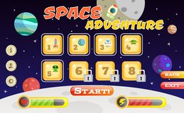 Scifi game interface. Scifi space adventure game user interface template vector illustration Royalty Free Stock Photo