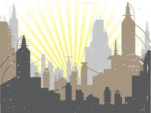Scifi Grunge City sun rising Vector Background Stock Photos