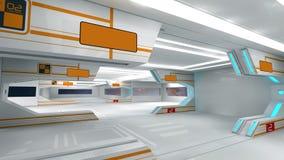Scifi interior. 3d design. SCIFI futuristic  interior and illumination Stock Photography