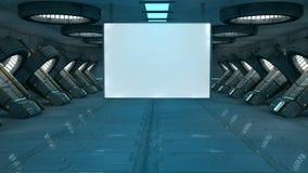 Scifi interior. 3d design. SCIFI interior, illumination and billboard Royalty Free Stock Photography