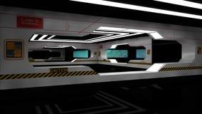 Scifi interior. 3d design. SCIFI interior, illumination and doors Stock Photos