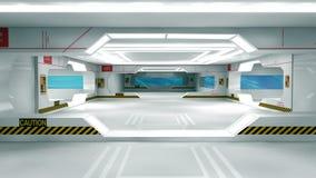 Scifi interior. 3d design. SCIFI interior, illumination and doors Royalty Free Stock Photos