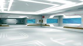 Scifi interior. 3d design. SCIFI interior, illumination and doors Stock Image