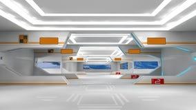 Scifi interior. 3d design. SCIFI interior, illumination and doors Stock Images