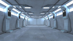 Scifi interior. 3d design. Modern and Futuristic scifi interior Royalty Free Stock Images