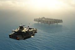 Scifi militaire installatie op oceaanplaneet Stock Fotografie