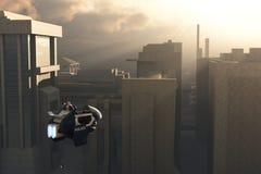 Scifi-Polizeifahrzeug über Stadt Stockbilder