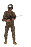 Scifi rebel firing plasma rifle. Science fiction rebel in camouflage outfit and helmet firing blaster weapon Stock Photo