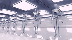 SCIFI Robots. Futuristic robots and scifi interior concept Royalty Free Stock Photography