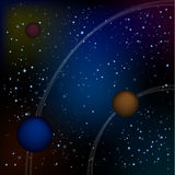 Scifi Space Background For Ui Game Illustration of a beautiful comic starry space landscape with alien moons, asteroids stock illustration