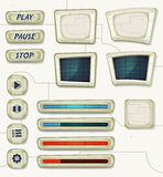 Scifi Space Icons For Ui Game. Illustration of a set of various cartoon design ui game space and scifi elements including banners, signs, buttons, load bar and royalty free illustration