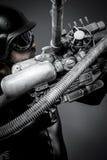 Scifi.Starfighter με το τεράστιο τουφέκι πλάσματος, έννοια φαντασίας, milit Στοκ Εικόνα