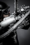 Scifi.Starfighter with huge plasma rifle, fantasy concept, milit Stock Image