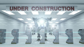 SCIFI Under construction and robot stock illustration