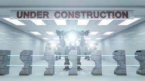 SCIFI Under construction and robot. Futuristic interior Stock Images