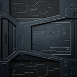 Scifi wall. carbon fiber wall and circuits. metal background. And texture 3d illustration. technology concept Royalty Free Stock Image