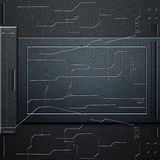 Scifi wall. carbon fiber wall and circuits. metal background. And texture 3d illustration. technology concept Stock Images