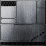Scifi wall. metal wall and black mesh. metal background Stock Photography