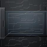 Scifimuur de muur en de kringen van de koolstofvezel De achtergrond van het metaal royalty-vrije illustratie