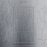 Scifimuur de muur en de kringen van het chroommetaal De achtergrond van het metaal vector illustratie