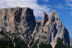 Sciliar от Seiser Alm Alpe di Siusi, доломитов, Trentino-альта Адидже Стоковые Фото