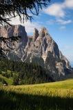 Sciliar da Seiser Alm Alpe di Siusi, dolomia L'Italia Fotografie Stock