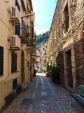 Scilla,雷焦卡拉布里亚,意大利小街道  免版税图库摄影