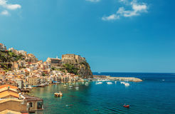 Scilla castle and harbor royalty free stock photos