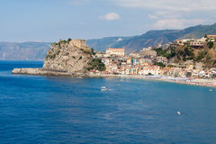 Scilla castle and sea bay Stock Image