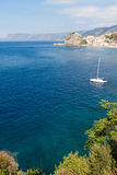 Scilla castle and sea bay Stock Photos