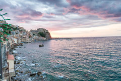 Scilla coastline at night in Chianalea, Calabria, Italy.  royalty free stock photos