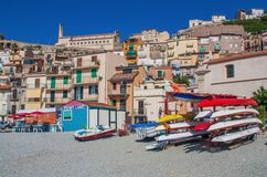The beautiful seaside village of Scilla, Italy. Scilla, Italy - Laying just in front of Sicily, Scilla is one of the most beautyful seaside villages of Italy stock photography