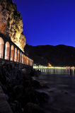 Scilla by night. Photo taken under the cliff below the castle of Scilla (Reggio Calabria) and the tunnel Royalty Free Stock Photography