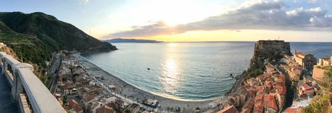 Scilla panoramic aerial view from city terrace, Calabria stock photography