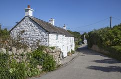 Scillonian cottages, Tresco, Isles of Scilly, England.  Royalty Free Stock Photo
