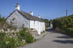 Scillonianplattelandshuisjes, Tresco, Eilanden van Scilly, Engeland Royalty-vrije Stock Foto