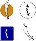 Scimitar sword mixed set. Mixed set with icon, sign, color and black and white illustrations of a scimitar sword Stock Photo