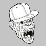 Scimmia arrabbiata con il berretto da baseball - grafico di vettore editabile Fotografie Stock Libere da Diritti