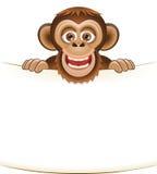 Scimmia barbuta del fumetto che tiene un foglio bianco di carta Illustrazione di Stock