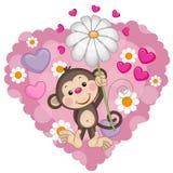 Scimmia con i cuori ed il fiore Immagini Stock