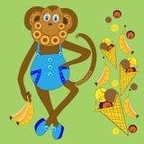 Scimmia con il gelato e le banane Fotografie Stock