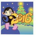 Scimmia con l'albero di Natale Fotografia Stock